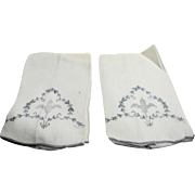 White Cotton Blue Embroidered Hand Towels Napkins Pair