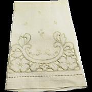 Battenberg Style Lace Linen Tea Guest Towel Cream