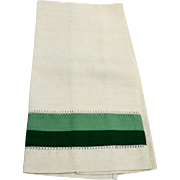 Linen Green Border Stripe Hand Guest Tea Towel