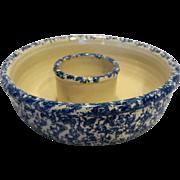 Blue Spongeware Chip Dip Bowl Yesteryears Pottery Marshall Texas
