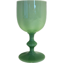 Jade Jadeite Jadite Green Opaque Glass Wafer Stem Goblet