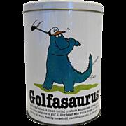 Golfasaurus Saurus Popcorn Tin Canister Cliff Galbraith 1986
