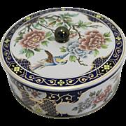 Daher Blue Chinoserie Style Round Tin Chrysanthemums Blue Bird