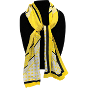 Oscar De La Renta Silk Scarf Yellow Black White Diagonal Polka Dots Rectangle