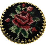 Needlepoint Petit Point Red Rose Pin Brooch Round