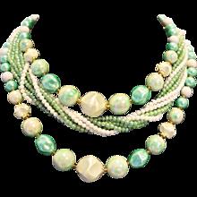 Seafoam Green White Multistrand Necklace Midcentury Japan