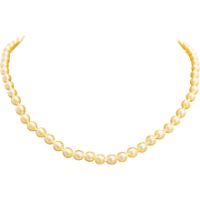 Faux Pearl Beads Single Strand Japan 17 IN Champagne Beads