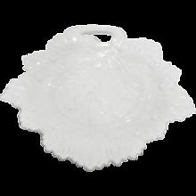 Fostoria Milk Glass Vintage Leaf Plate 8 3/8 IN