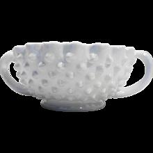 Fenton Hobnail Milk Glass Nut Bowl Handled 3729
