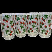 Libbey Strawberry Strawberries Swiss Dot Glass Tumblers Set of 4