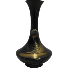 Mixed Metal Bronze Vase Gold Pagoda Mountain Scene 7 IN