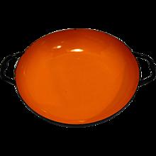 Orange Black Enamel Bowl Saute Pan Poland Midcentury Modern