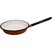 Red White Black Enamel Frying Pan Skillet