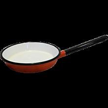 Red White Black Enamel Frying Pan Skillet