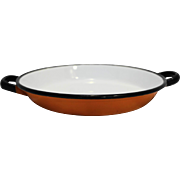 Orange White Black Enamel Bowl Saute Pan Poland