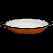 Orange White Black Enamel Bowl Saute Pan Poland