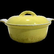 Descoware Yellow White Enamel Cast Iron Small Dutch Oven Belgium