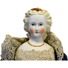 Parian Bisque German Porcelain Doll 20 IN Dresden Flowers Hair Blond Blue Eyes