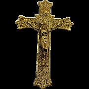 Art Deco Crucifix Gallo Co NY Gold Tone Metal Filigree 9 IN
