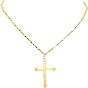 Vintage Gold Tone Fleuree Cross Pendant Tiny Faux Pearls Necklace Religious