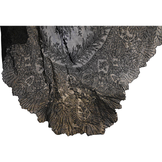 Black Lace Shawl Vintage Huge Triangle Floral 100 x 54 IN