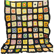 Black Crocheted Granny Square Afghan Lap Blanket Throw Vintage