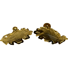 Oak Leaf Gold Tone Screwback Earrings