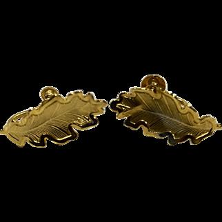 Oak Leaf Gold Tone Screwback Earrings