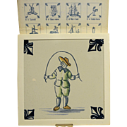 KLM Delft Tile Coaster Childrens Series Jump Rope Amsterdam Holland Dutch