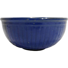 Cobalt Blue Ribbed Mixing Bowl Pottern 8 IN