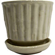McCoy Bamboo White Flower Pot Planter With Saucer 0372 1970s-80s