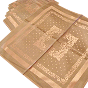 *1930's: Elegant & Grand Damask Gray and Pink Reversible Table Ensemble