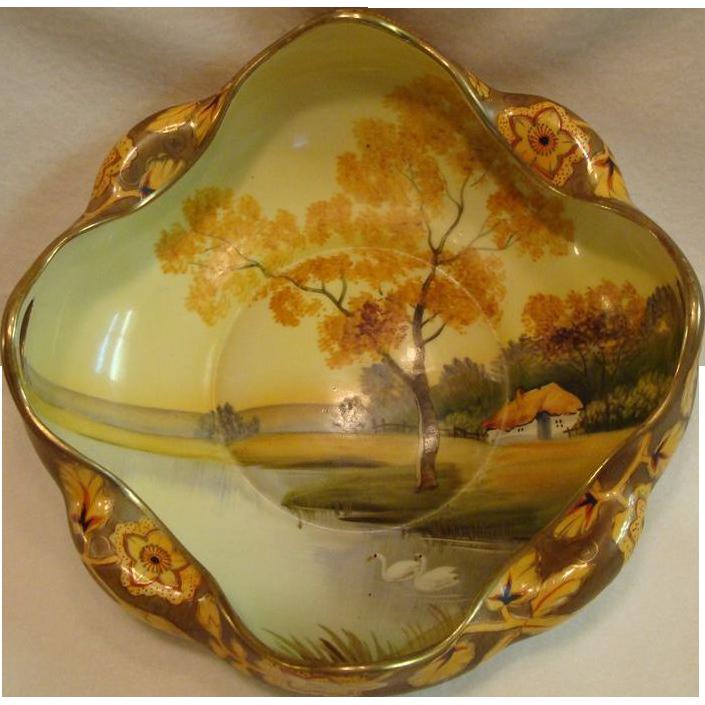 "*1891- 1921: Serene "" Swan Lake "" Nippon Landscape Bowl"