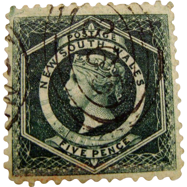 **1854 Postage Stamp: New South Wales 5 Pence with Watermark