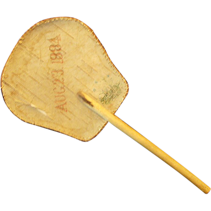 1884: Antique Handmade Birch Bark Hand Fan