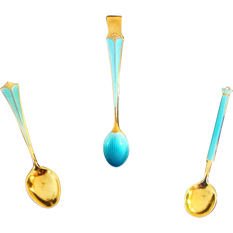 Art Deco: David Andersen Sterling and Gold Gilt Guilloche' Enameled Sugar Serving Set by David Anderson