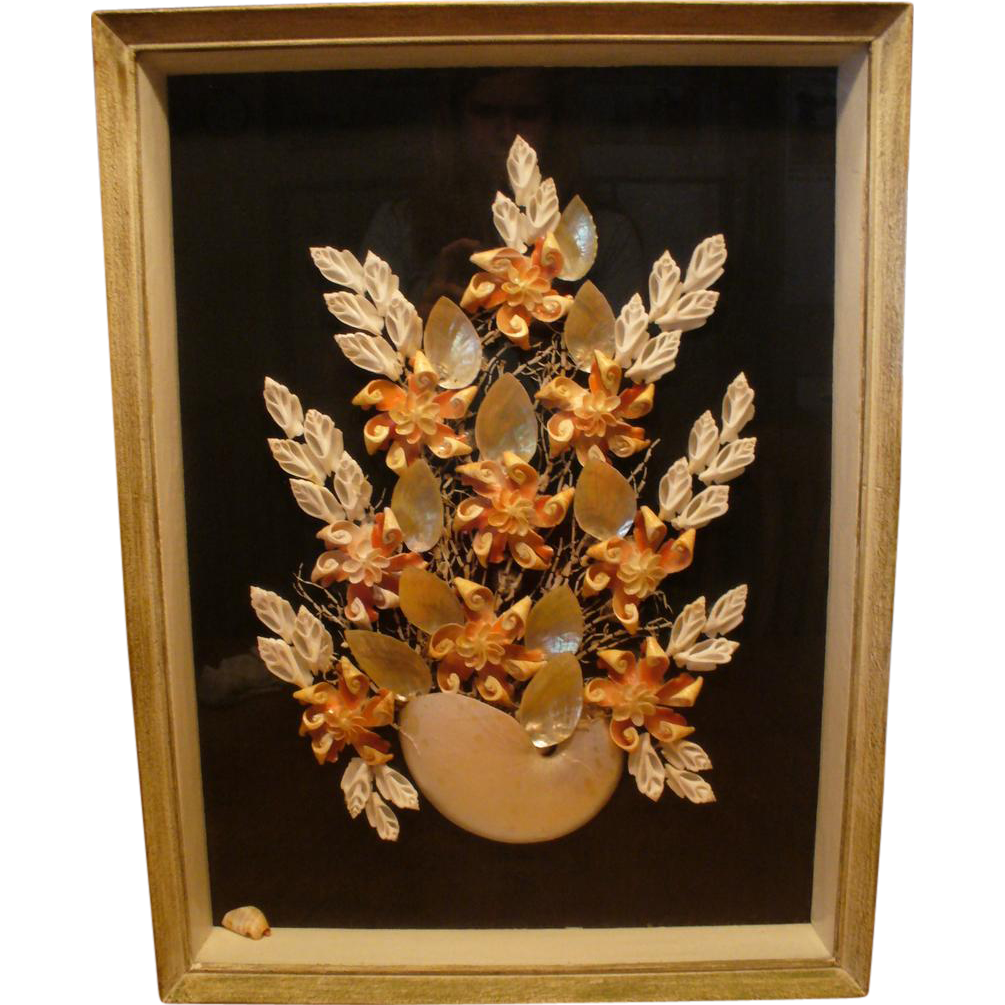 Vintage 1930 s shell art shadow box from houseoflostandfound on ruby