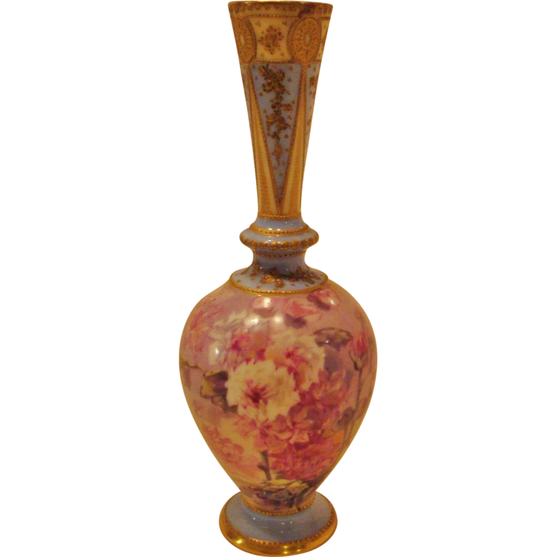 Late 1800's : Superbly Decorated Limoges Bud Vase