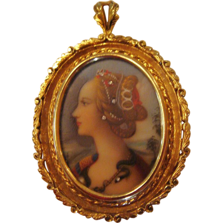 "Circa 1910: 18K Gold Hand Painted Miniature Portrait of "" Simonetta Vespucci """