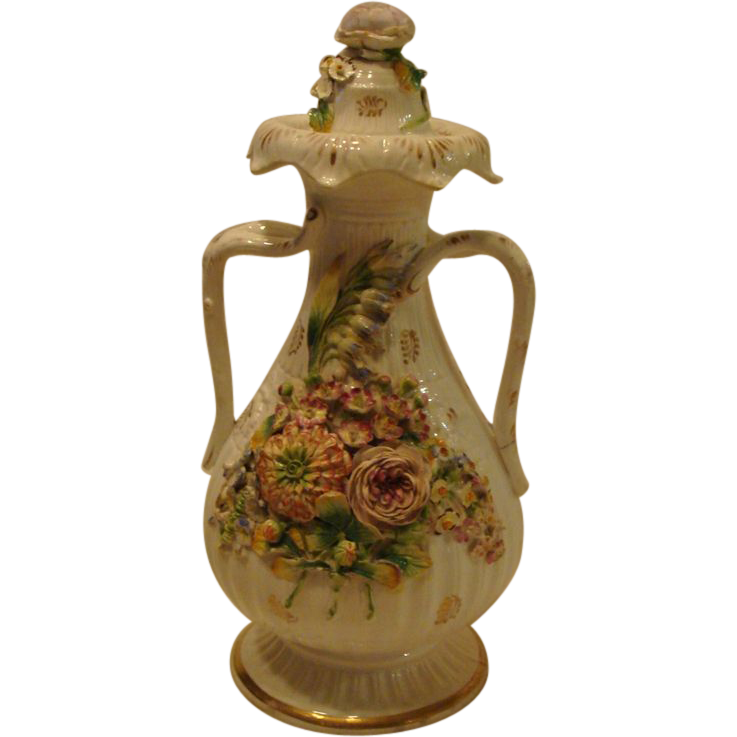 Circa 1820's: Early Encrusted Coalport  Urn & Cover
