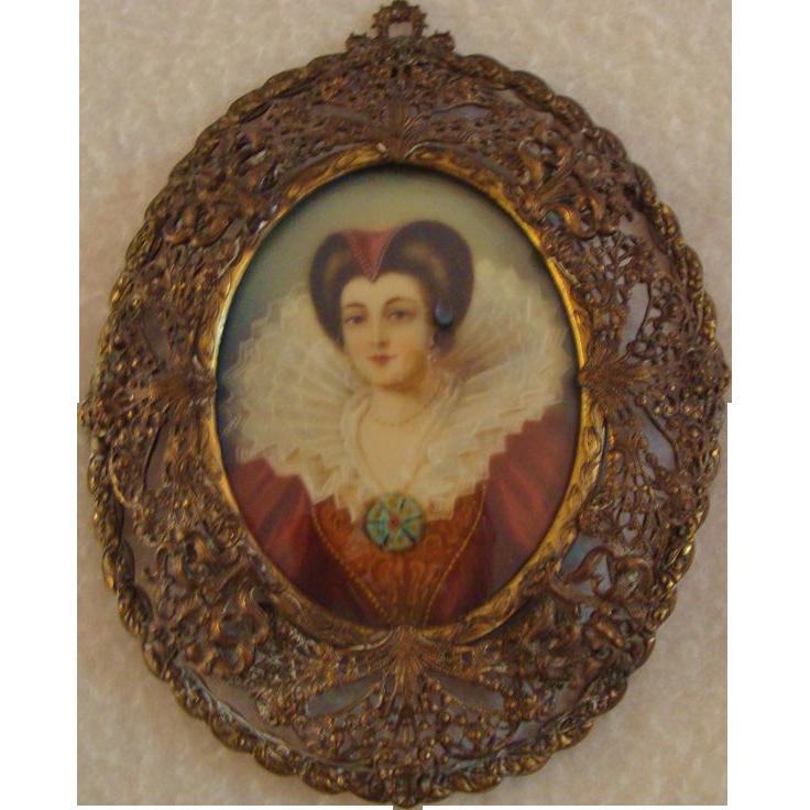 Antique; Miniature Masterpiece  Portrait of 17th Century Beauty