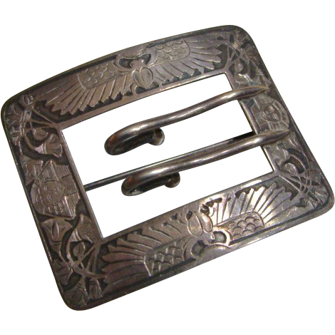 Circa 1900: Symbolic Sterling Egyptian Belt Buckle