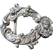 Art Nouveau: Signed, Sterling Silver Belt Buckle