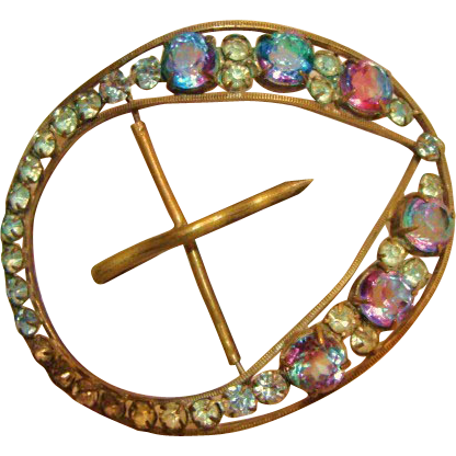 Art Deco: Rare Iris / Rainbow Crystal Belt Buckle