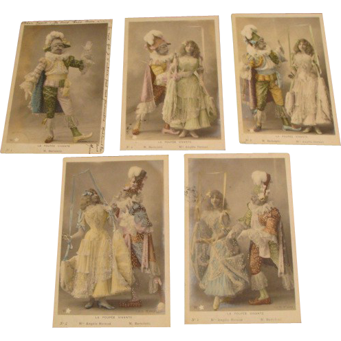 "Antique French Postcard Set "" La Poupee Vivante """