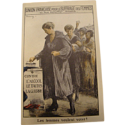 Circa 1909: French Suffrage Poster Postcard * Profound Image *