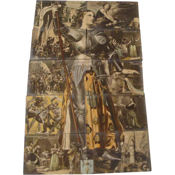 "Circa 1910; Complete 10 Piece Installment Puzzle of "" Joan of Arc """