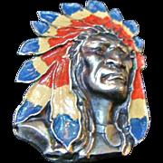 Circa 1930's:  Rare Native American Chief Brooch