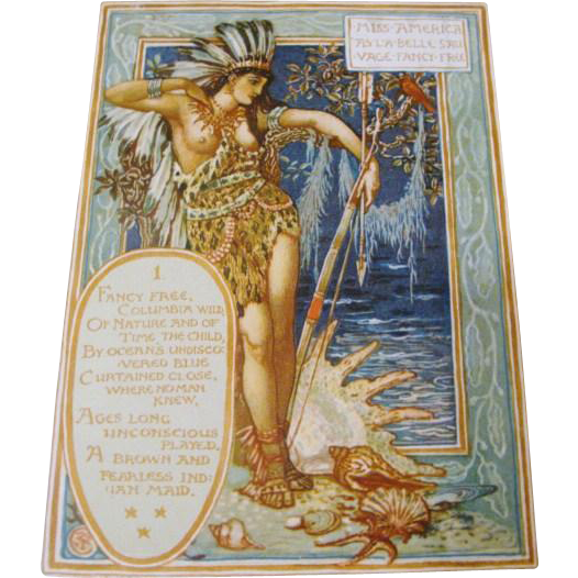 "1893: FIRST EDITION "" Columbia's Courtship "" by Walter Crane"