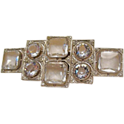 Art Deco: Czechoslovakia signed Rock Crystal Belt Buckle